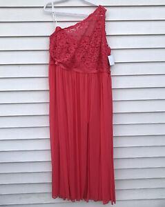 NEW David's Davids Bridal Bridesmaid Dress Guava Lace One Shoulder Size 24