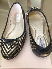 $625 Jimmy Choo Weber Black Gold Metallic Woven Ballet Flats Shoes 40 10 fit 9.5
