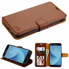 For Samsung Galaxy J7 (2018) /J7 V 2nd Gen (2018) Brown Leather Case