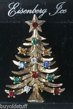 Eisenberg Ice Classic Christmas Tree Pin Multicolor Stones On Original Card