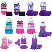 Kids Girls Tankini Set Swimwear Bikini Halter Swimsuit Swimming Costume 2-16Y