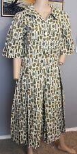 """VTG 40's PEPPER Mill Cooking Food Print Novelty Day Dress 30"""" Waist L XL"""