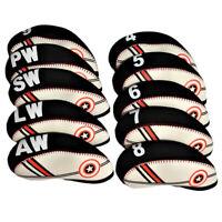 10pcs/Set Neoprene Golf Clubs Irons Head Cover Set 4,5,6,7,8,9,AW,SW,PW,LW