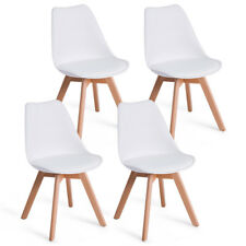 Set Of 4 Mid Century Modern Style Dining Side Chair Upholstered Seat Wood Legs