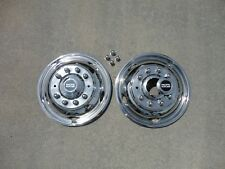 """FORD F450 F550 19.5"""" 05-18 10 LUG Stainless Dually Wheel Simulators FRONTS"""