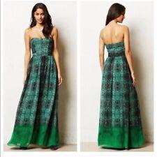 Anthropologie Moulinette Soeurs Size 2 Green Vernalis Strapless Maxi Dress