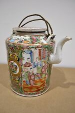 Antique Chinese famille rose Canton peinte à la main Porcelaine Tea Pot