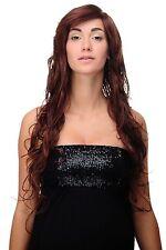 Longue perruque marron acajou MOYEN brun Mix ondulé env. 70 cm 9669el-3003