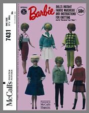 Vintage McCall's Barbie Doll Clothes Fabric Sewing Knitting Pattern #7431