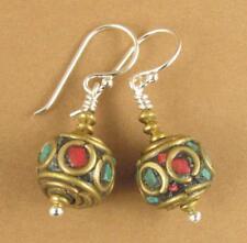 Tibetan mala bead earrings. Blue, red, brass & sterling silver 925. Handmade.