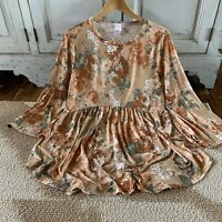 3X USA MADE Plus Size Floral Oversized 3/4 Sleeve Blouse Tunic Top Womens NWT