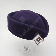 VINTAGE Wool Felt Women Fascinator Ladies Pillbox Hat Party | 56cm | Dark Purple