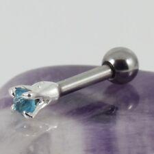 Cartilage Bar Upper Ear Tragus Lobe Piercing Silver 2mm Aqua Crystal 1.2 x 6mm