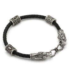 Men's Vintage Silver Norse Viking Dragon&Rune Beads Braided Bracelet Bangle Gift