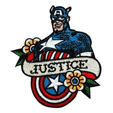 "Retro Captain America Fan ""Justice"" Iron-On Patch Marvel Hero Character Applique"