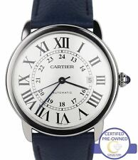 Cartier Ronde Solo XL 42mm Silver Roman Automatic 3517 Blue Watch W6701010