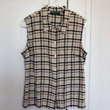 Lemon Grass Studio Womens Blouse Multicolor Plaid Sleeveless Button Up Shirt L
