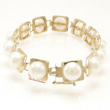 14k Solid Yellow Gold 7 ¼ Inches Stationary White Cultured Pearl Bracelet TPJ