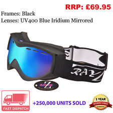 Rayzor Ski Snowboard Goggles Sunglasses Black UV400 Blue Mirrored Lens RRP£69