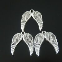50pcs Antiqued Silver Vintage Alloy Angel  Wing Pendant Charms 38318