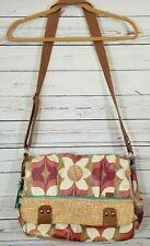 FOSSIL Laptop Bag Key Per Cross Body Messenger Coated Canvas Floral Pink Brown +