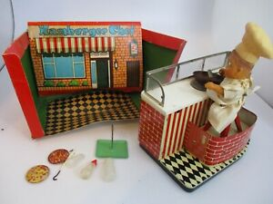 RARE 1950s JAPAN BATTERY OPERATED HAMBURGER CHEF OLD TOY SHOP-not working