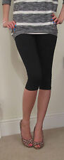 Knee Length High Waist Leggings COTTON Stretch 8 -  26 Black Plus