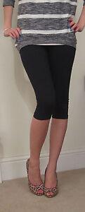 Knee Length High Waist Leggings COTTON Stretch 8 -  26 Black Plus
