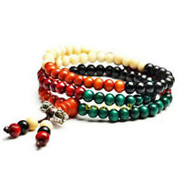 Tibetan Buddhist Buddha Meditation Wood Prayer 6mm 108 Beads Mala Bracelet