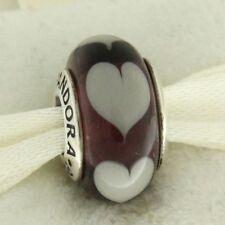 Authentic Pandora 790659 Violet Love Gray Hearts Murano Glass Bead Charm