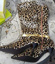 Animal Print Zip Knee High Boots for Women