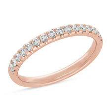 Womens 0.40 CT 14K Rose Gold Prong Natural Round Diamond Wedding Band Ring 2.6MM