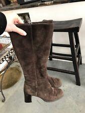 Lord & Taylor Brown Leather Knee-High Boots Heels B SZ 6M Sleek 6 Heeled
