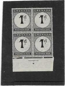 GRENADA 1921 1d. BLACK POSTAGE DUE BLOCK OF 4 SG.D11 UNMOUNTED MINT MNH