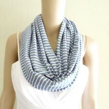 Blue Jay And White Infinity Scarf. Stripe Circle Scarf. Soft Cotton Loop Scarf.