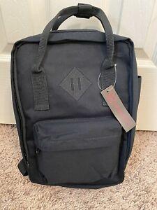 No Boundaries Cotton Blend Mini Square Backpack Black NWT