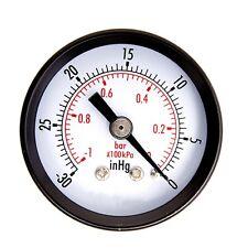 Dry Utility Vacuum Pressure Gauge Steel 1/4 inch Center Back -30HG/0PSI LX