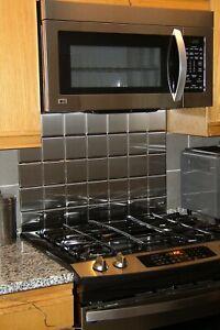 """4"""" x 4"""" Brushed Stainless Steel Kitchen Backsplash Tile (36 Tile)"""