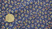 Vintage Cotton Fabric TINY RED & YELLOW  FLORAL ON NAVY BLUE 1 Yd/44""
