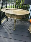 Round Vintage 60s Moroccan Brass Tray solid brass  Legs Table Mid Century Modern
