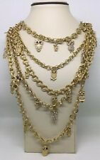 RARA OWL GOLD TONE RHINESTONE HUGE NECKLACE (C543)