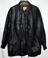 Vtg Luis Alvear Luciano Black Soft Thick Leather Mens Ranchers Jacket Coat Sz L