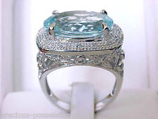 $3,419 GLITZ N GLAM! 14K SHOPNBC SPARKLING BABY BLUE AQUAMARINE DIAMOND RING