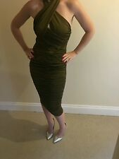NEW Ladies Boohoo Ruched Olive Dress. Size 8.