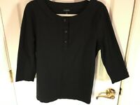 Woman's Talbots size large black embellished front button rayon blend tunic top