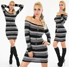 Sexy Streifen Strick Long Pullover Mini Kleid One Size Gr. 34 - 38