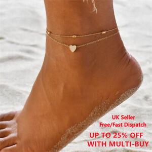 New Adjustable Ankle Bracelet Heart Silver Gold  Anklet Foot Chain UK Seller