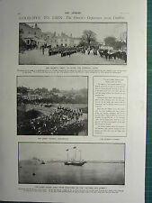1900 VICTORIAN PRINT ~ QUEEN'S DEPARTURE FROM DUBLIN VICEREGAL LODGE KINGSBRIDGE