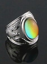 VINTAGE ANTIQUE STYLE SILVER MOOD RING 70S BOHEMIA UNISEX EAGLE MENS sz 13