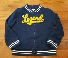 "CARTERS BOYS ""LEGEND"" Snap VARSITY JACKET Size 5 Blue White Yellow Chenille"
